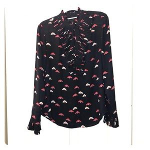 Ann Taylor Black/Red Blouse - Size Small EUC